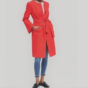 BANANA REPUBLIC Orangy Red Boucle Cotton Long Coat